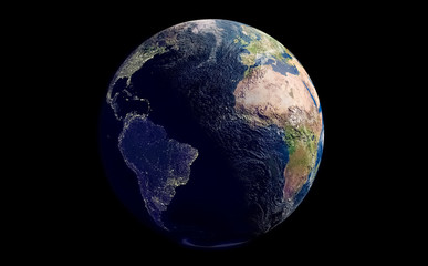 planet earth on a clean black background