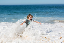 Children Playing On Rocks And In Surf, Beach, Todos Santos