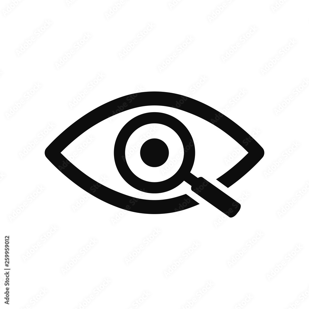 Fototapeta Magnifier with eye outline icon. Find icon, investigate concept symbol. Eye with magnifying glass. Appearance, aspect, look, view, creative vision icon for web and mobile – stock vector