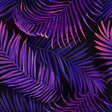 Tropical Neon Palm Leaves Seam...