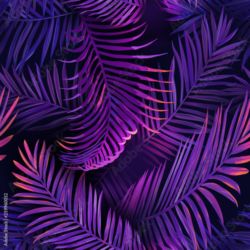mata magnetyczna Tropical Neon Palm Leaves Seamless Pattern. Purple Colored Floral Background. Summer Exotic Botanical Foliage Fluorescent Design with Tropic Plants for Fabric, Textile, Wallpaper. Vector illustration