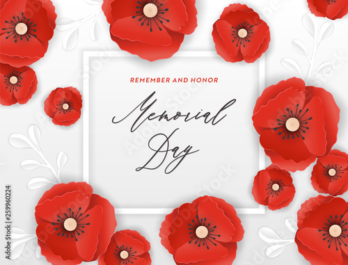 Obraz Memorial Day Banner with Red Paper Cut Poppy Flowers. Remembrance Day Poster with Symbol of Piece Poppies for Flyer, Brochure, Leaflet. Vector illustration - fototapety do salonu