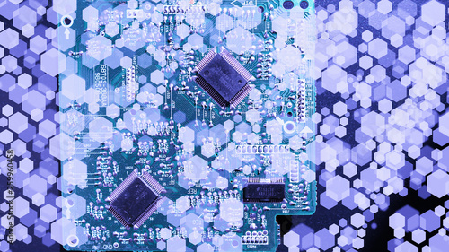 Fototapety, obrazy: electronic circuit, motherboard, processor, chip, light bulbs, high technology