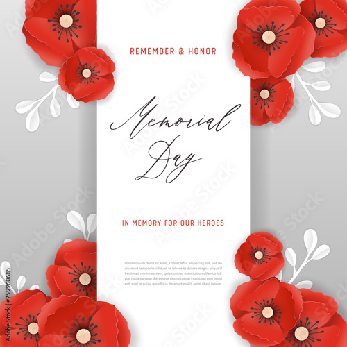 Memorial Day Banner with Red Paper Cut Poppy Flowers Canvas Print