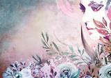 Różowy. Streszczenie portret akwarela - 259961204
