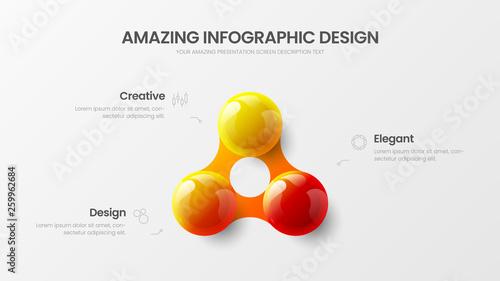 Photo  Business 3 option infographic presentation vector 3D colorful balls illustration