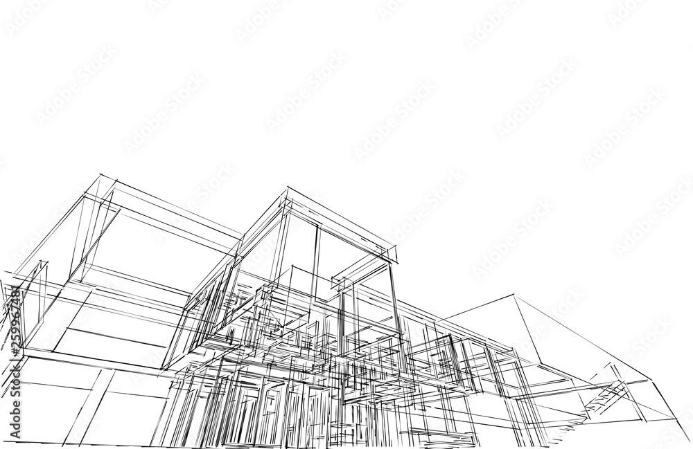 Fototapety, obrazy: modern house architecture 3d illustration