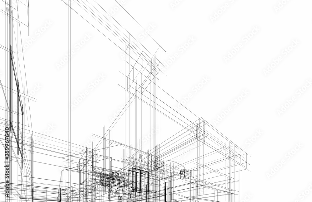 Fototapety, obrazy: modern house architecture 3d illustration