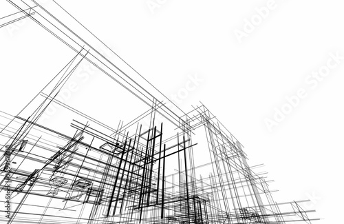 modern house architecture 3d illustration - 259967600