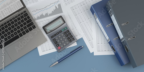 Photo Accounting, laptop, pen and calculator