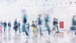 canvas print picture - crowd of business people walking and talking in a modern company office. Geometric pattern and skyscrapers foreground. Toned image double exposure mock up blurred