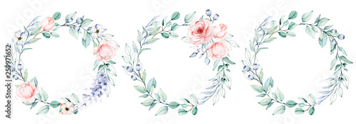 Photo  Watercolor flower and leaf wreath