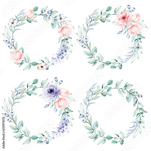Photo sur Toile Papillons dans Grunge Watercolor flower and leaf wreath. Floral clip art. Frame perfectly for print on wedding invitation, greeting card, wall art, stickers and other. Isolated on white background. Hand paint design.