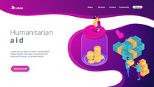 Volunteers Donating Money Into The Donation Jar And Carrying Donation Boxes With Goods. Donation, Charity Donation Funds, Gift In Kind Concept. Isometric 3D Website App Landing Web Page Template