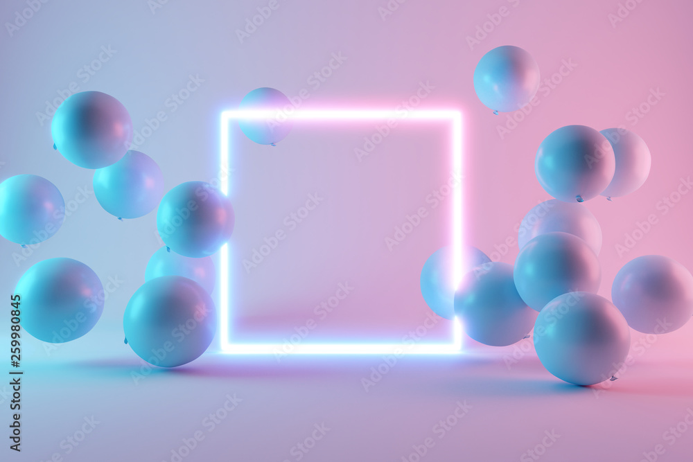 Fototapeta Balloons with neon lights on pastel colors background. 3d rendering