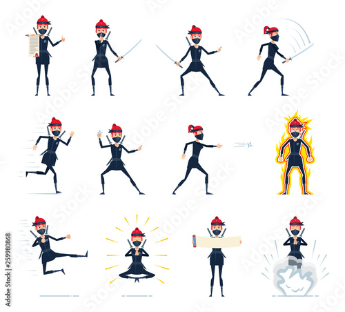 Big set of female ninja characters showing different actions
