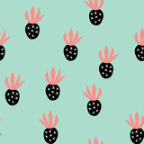 Creative trendy seamless pattern with fruits Different abstract pineapples. Hand draw texture. Vector template for cards, banners, print fabric, t-shirt. Pastel colors. - 259984602