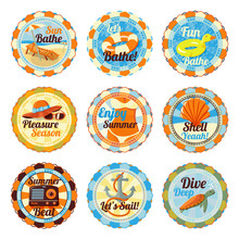 Vector Set Of Cute Bright Summer Badges With Slogans. Chase Lounge, Bathing Duck, Hat And Glasses, Bikini Girl, Shell, Radio, Anchor, Sea Turtle.