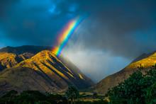 Bright Rainbow Over The Mountains. Maui, Hawaii