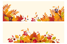 Thanksgiving Background With Space For Text, Horizontal Banners With Autumn Leaves And Berries Vector Illustration