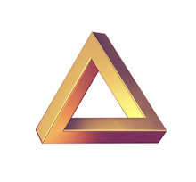Optical Illusion. Penrose Triangle Isolated On White