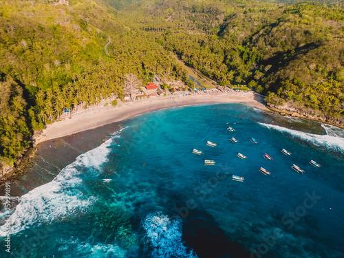 Aluminium Prints Bali Tropical beach with coconut palms and ocean. Crystal bay, Nusa Penida. Aerial view