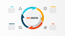 Business Element For Infographic With Thin Line Icons. Cycle Process With 4 Options, Parts, Steps. Vector Template.