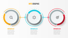 Vector Infographic Design Template With Marketing Icons. Business Concept With 3 Options Or Steps.  Can Be Used For Process Diagram, Workflow Layout, Info Graph, Annual Report,  Flow Chart.