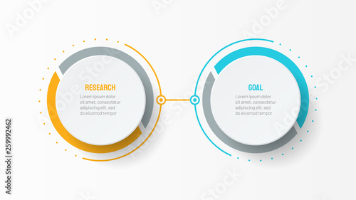 Cuadros en Lienzo  Vector infographic design template with 2 options or steps