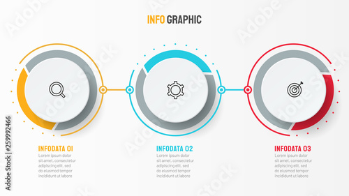 Photo  Vector infographic design template with marketing icons