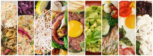 Photo  Collage delicious meals assortment, restaurant menu composition