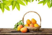 Mango In Basket And Leaf Isolated White Background