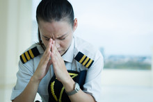 Stressed Out Female Pilot Worr...