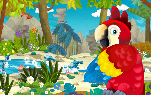 cartoon scene with happy and funny parrot in the tropical jungle - illustration for children