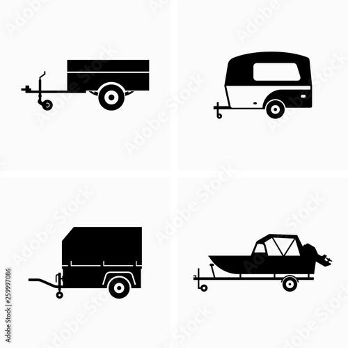 Fototapeta Auto utility and cargo trailer - Vector