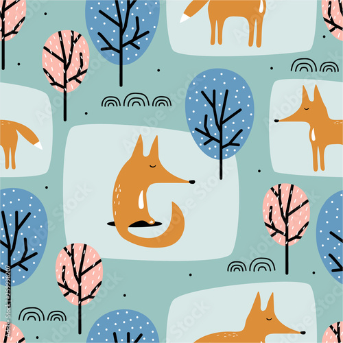 Foxes and trees, hand drawn backdrop. Colorful seamless pattern with animals. Decorative cute wallpaper, good for printing. Overlapping background vector. Design illustration
