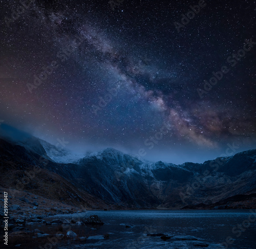 Türaufkleber Landschaft Composite image of Winter landscape of snowcapped Mountain Range at night with Milky Way above