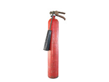 Old Fire Extinguisher For Risk Area  Isolated On White Background.