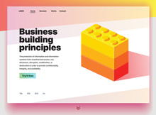 Website Providing The Service Of Business Building Principles. Concept Of A Landing Page For Business Building Principles. Vector Website Template With 3d Isometric Illustration Of Construction Blocks