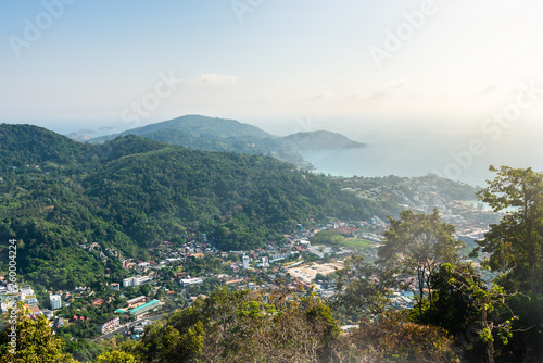 Fotografia  cityscape of Phuket town and landscape of island and sea view at phuket province