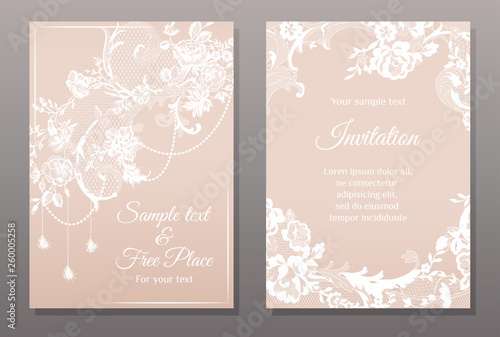 Valokuvatapetti invitation card in romantic lace style