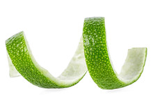 Fresh Lime Peel Isolated On A White Background. Lime Twist. Lime Skin.