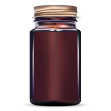 Brown Bottle. Amber Glass Fish Cod Medical Jar. Medicine Vial For Pill With Gold Screw Cap. Drug Pharmaceutical Container. Medication Packaging For Antibiotic Tablet. 3d Storage Mockup.