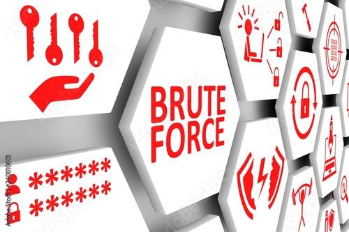 Vászonkép  BRUTE FORCE concept cell background 3d illustration