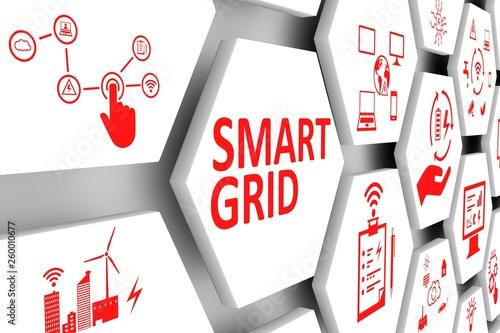 Fotografia SMART GRID concept cell background 3d illustration