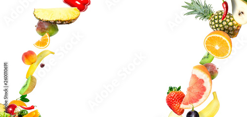 Frame of falling fresh vegetables and fruits isolated on white background with copy space for text - 260010691