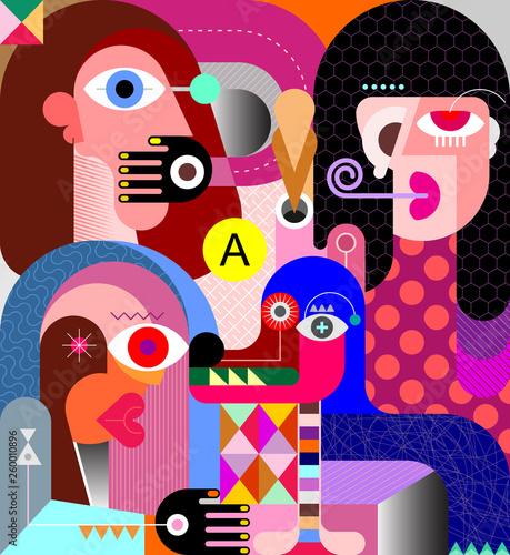 Photo sur Aluminium Art abstrait Three women and a dog vector illustration