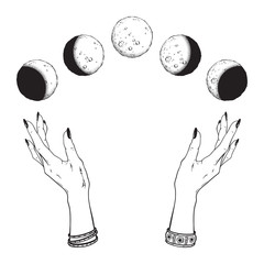 Hand drawn line art and dot work moon phases in hands of witch isolated. Boho chic flash tattoo, poster, altar veil or tapestry print design vector illustration.