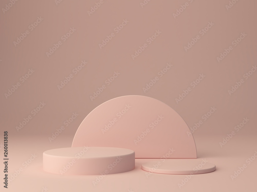 Fototapety, obrazy: Pink shapes on pastel colors abstract background. Minimal cylinder podium. Scene with geometrical forms. Empty showcase for cosmetic product presentation. Fashion magazine. 3d render.