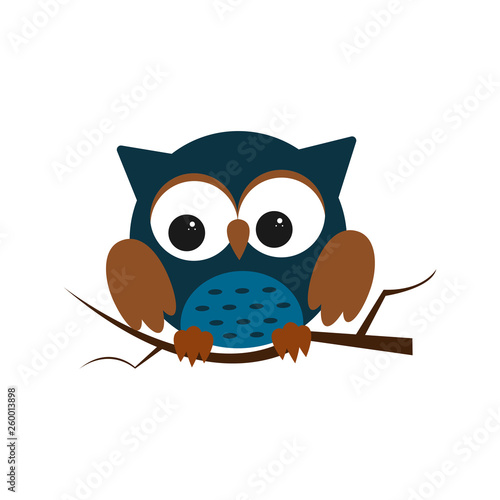 Owl night bird with big eyes. Colorful illustration